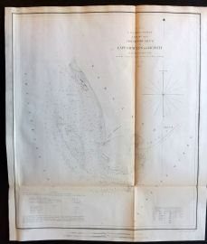 U.S Coast Survey 1853 Antique Map. Cape Charles and Vicinity, Virginia
